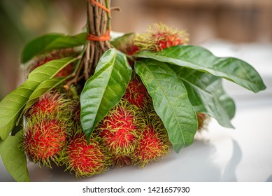 Bunch of Fresh Ripe Rambutan Fruits with Green Leaves.