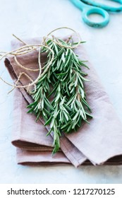 Bunch of fresh rosemary. Rustic style. Toned.