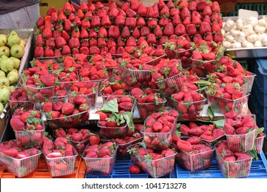 Bunch of Fresh Strawberries at Farmers Market