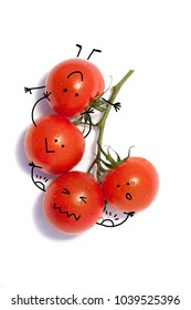 Bunch of fresh tomatoes with water drops. Isolated on white background.emotions; personification - raising, strength, support,