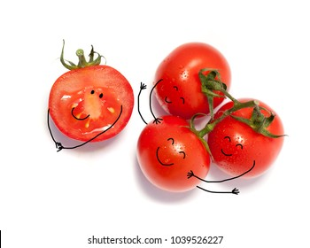 Bunch of fresh tomatoes with water drops. Isolated on white background.emotions; personification -friendship and  hugging