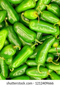 A bunch of freshly harvested green  organic Jalapeno chili peppers in vertical image format.