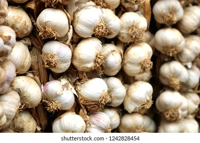 Bunch of Garlic on a Market in Southern Europe, Detail, Close-up