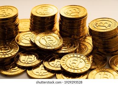 A bunch of golden bitcoin