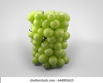 bunch of grapes 3d illustration