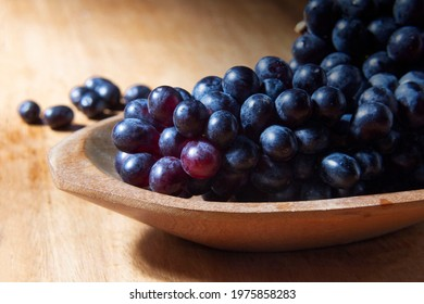 Bunch of grapes fruit wooden