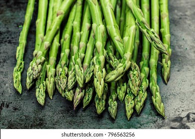 Bunch of green asparagus, top view