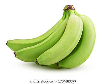 Bunch of green bananas isolated on white background. Clipping Path. Full depth of field.