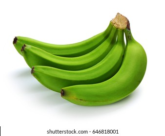 bunch of green bananas on white background.