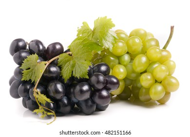 bunch of green and blue grape with leaves isolated on white background