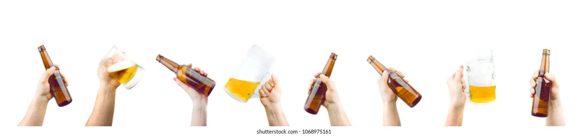 Bunch Of Hands Holding Mugs And Bottles Of Beer Up At Party Giving A Cheers Isolated On White Background