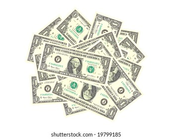 Bunch of isolated dollars on white background