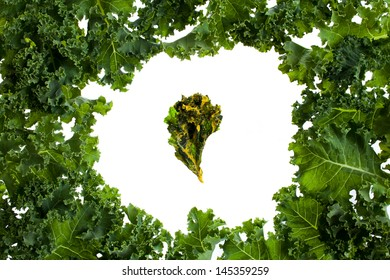 Bunch of kale with a kale chip in the middle