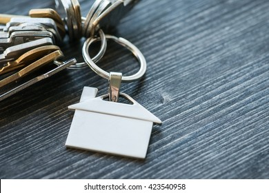 Bunch of keys with house shaped key ring on a rustic wooden table