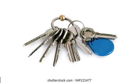Bunch of keys isolated on a white background