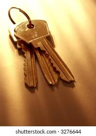 bunch of keys with warm light, shallow DOF