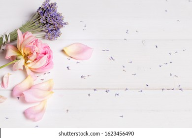 Bunch of lavender flowers and pink rose, banner, spa, beauty concept