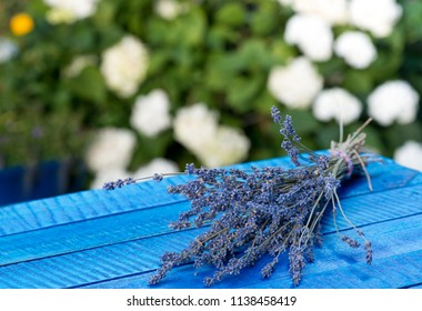 Bunch of lavender on the blue wooden desk.