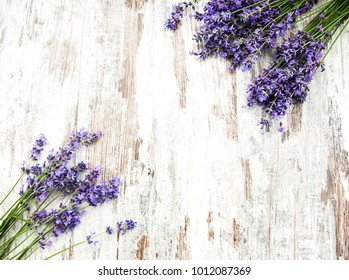 bunch of lavender on a old wooden background