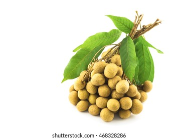 Bunch of longan, dimocarpus, with its leaves isolated over white
