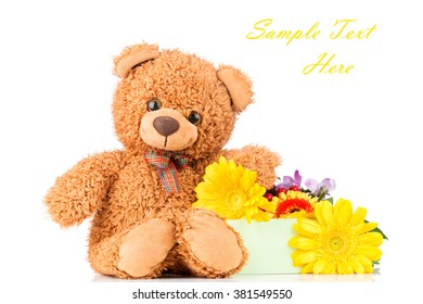 Bunch of mix beautiful flowers and a teddy bear on white background