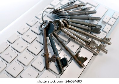 bunch of old keys on computer
