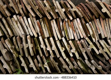 Bunch of old roof tile texture background