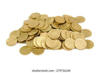 Bunch of old Spanish coins isolated on white background. One peseta.