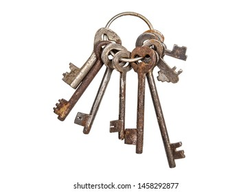 Bunch of old vintage keys isolated on white. Safety and security concept.