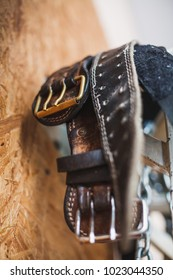 A bunch of old worn leather weightlifting belts hanging near a wooden panel wall, shallow depth of field.