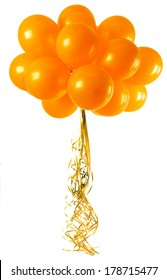 A bunch orange balloons isolated on white