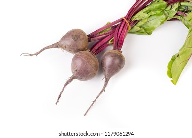 Bunch of organic beetroot isolated on white background