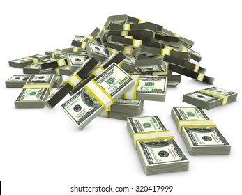 bunch packs of dollars on a white background