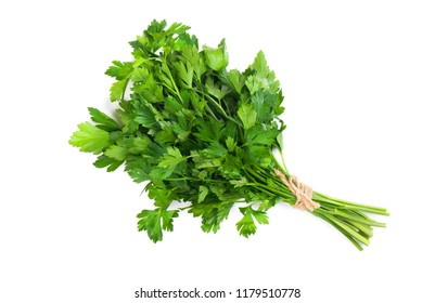 A bunch of parsley bandaged with a rope with a bow isolated on a white background