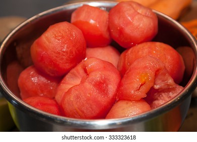 Bunch of peeled fresh tomatoes