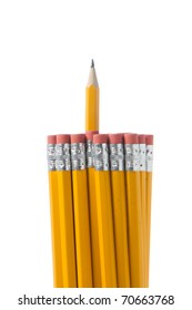 A Bunch of pencils isolated on white in the studio