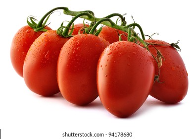 Bunch of Piccadilly tomatoes on white background.