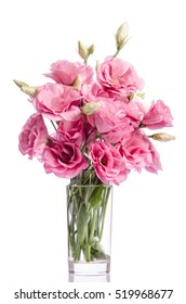 Flower vase images stock photos vectors shutterstock bunch of pink eustoma flowers in glass vase isolated on white mightylinksfo