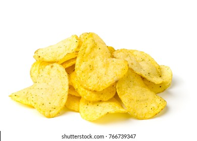 A bunch of potato chips on white