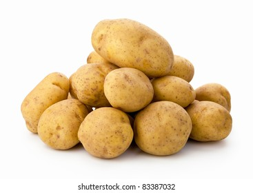 Bunch of potatoes isolated on white background
