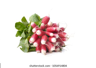 bunch of radishes isolated on a wooden plank