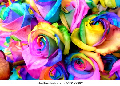 A bunch of rainbow roses at florist shop