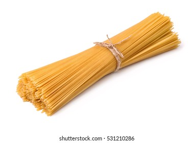 Bunch of raw italian pasta isolated on white
