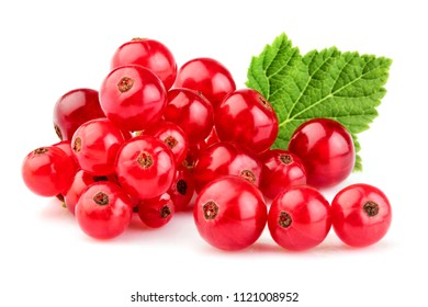 Bunch of red currant with leaf closeup on white background.