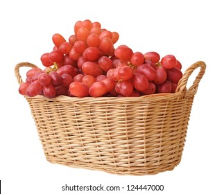 a bunch of red grape in bamboo basket isolated on white background