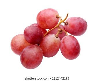 Bunch of red grapes isolated on white background. Ripe berries.