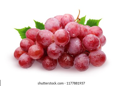 Bunch of red grapes with water drops with leaves, isolated on white background with shadow.