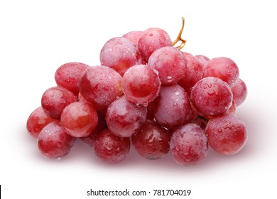 Bunch of red grapes with water drops, isolated on white background with shadow.