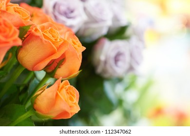 Bunch of red and orange beautiful roses