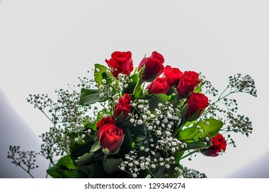 A bunch of red roses for a valentine